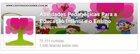 Página do Facebook Cantinho do Saber