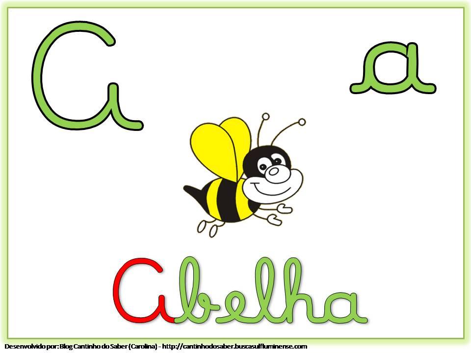Alfabeto Colorido com Letra Cursiva para Imprimir A