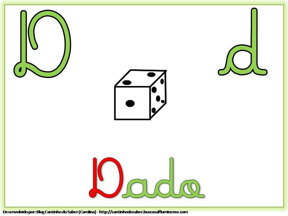 Alfabeto Colorido com Letra Cursiva para Imprimir D