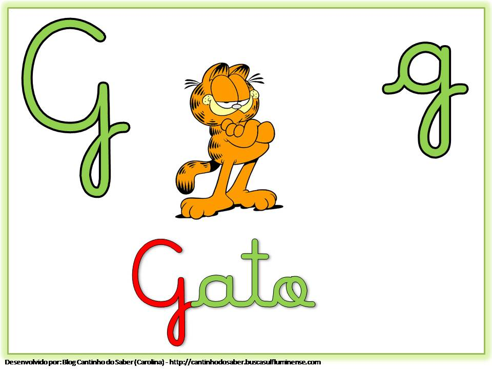 Alfabeto Colorido com Letra Cursiva para Imprimir G