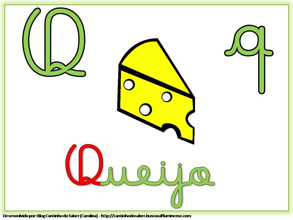 Alfabeto Colorido com Letra Cursiva para Imprimir Q
