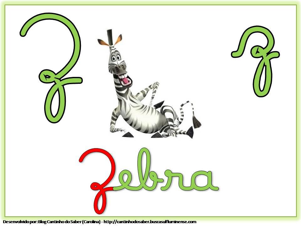 Alfabeto com Letra Cursiva para Imprimir Z