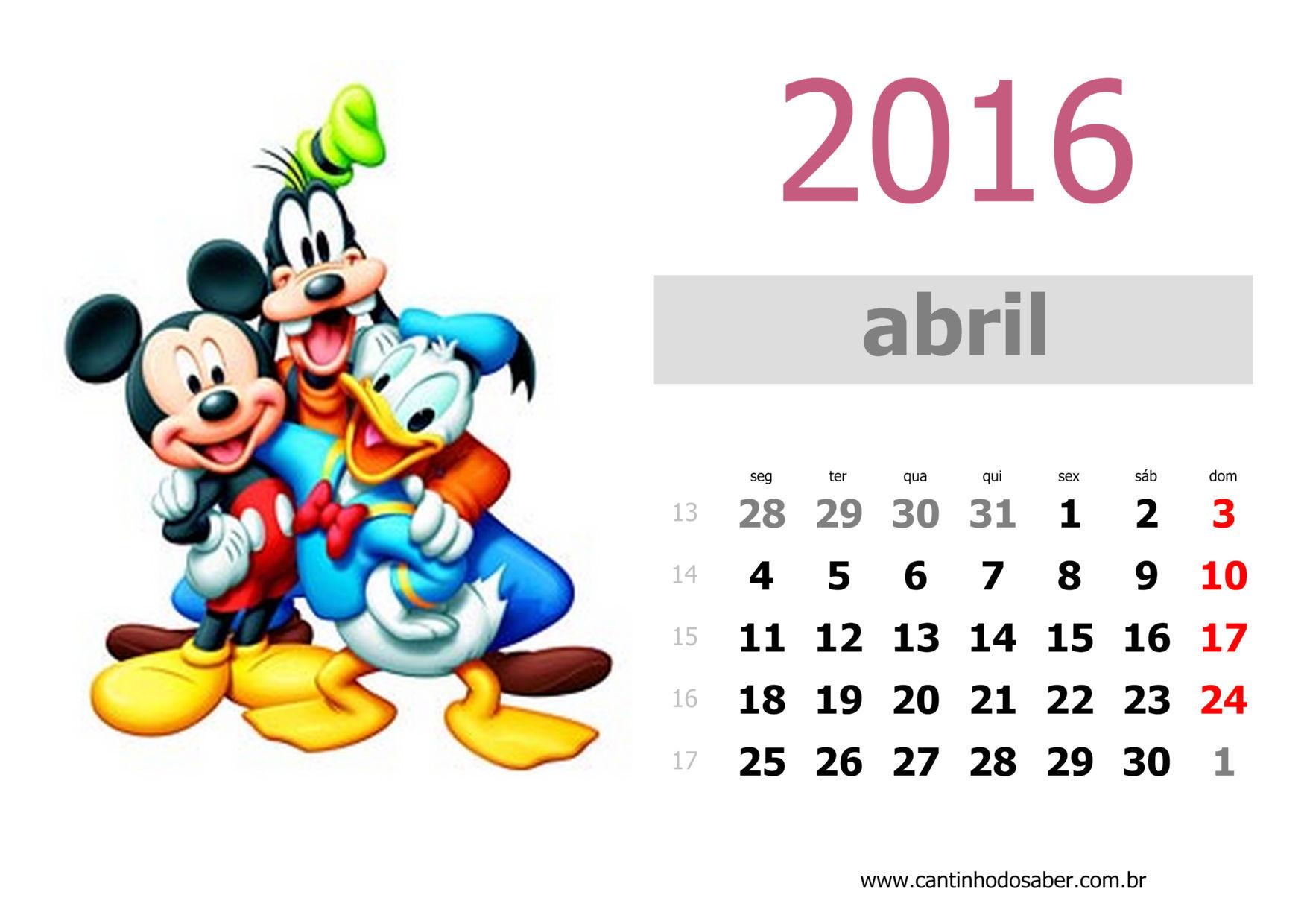 calendario 2016 mês de abril