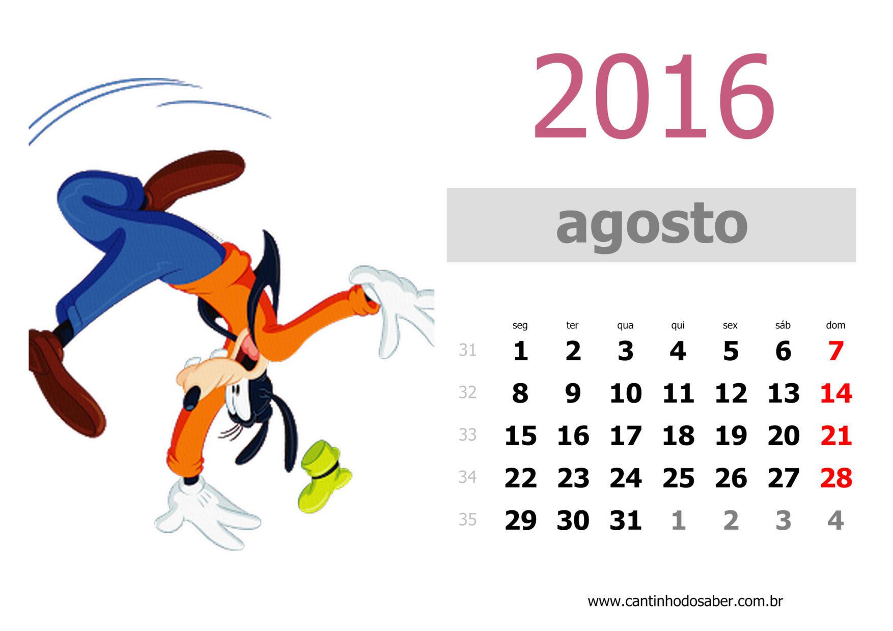 calendario 2016 mês de agosto