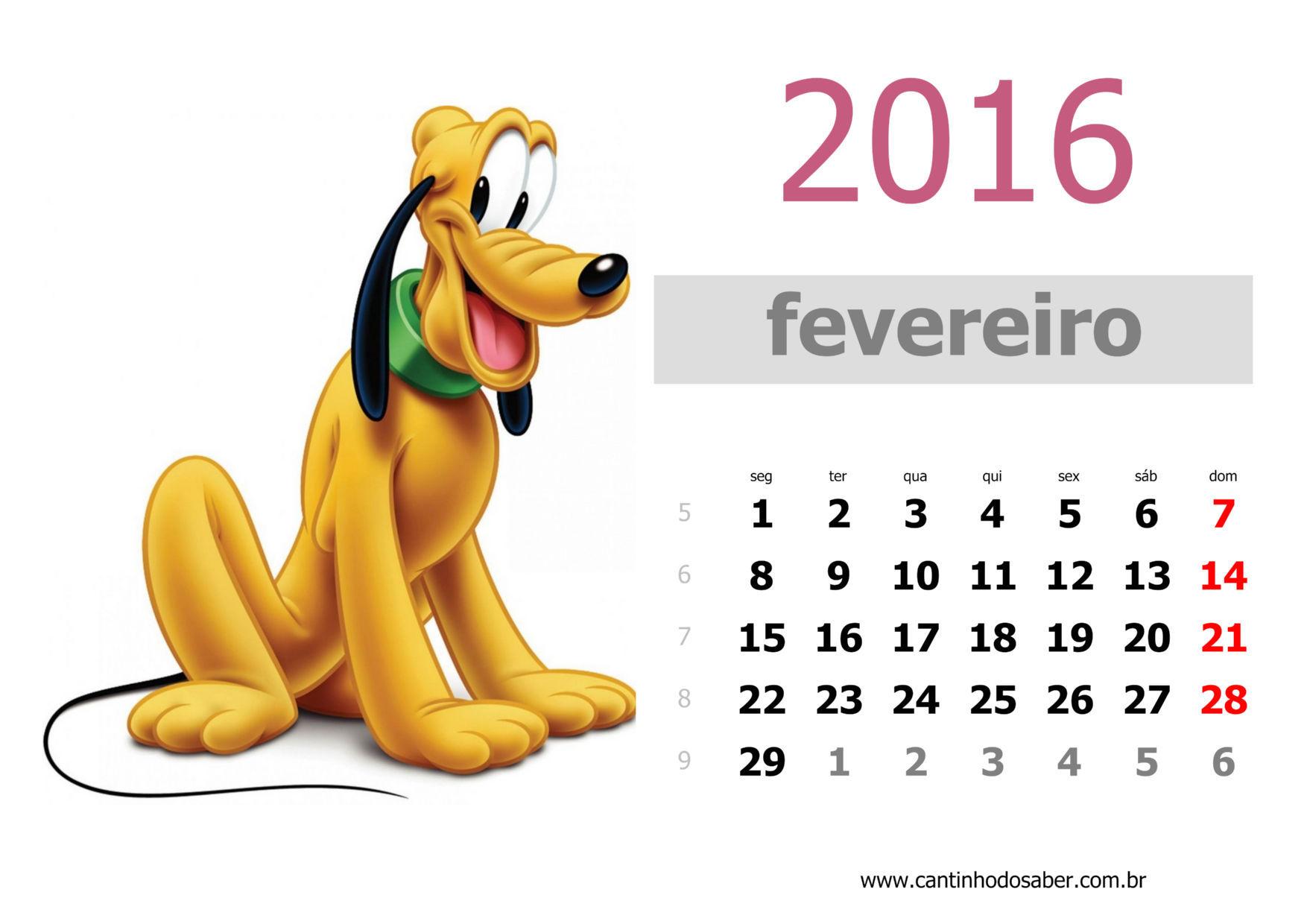 calendario 2016 mês de fevereiro