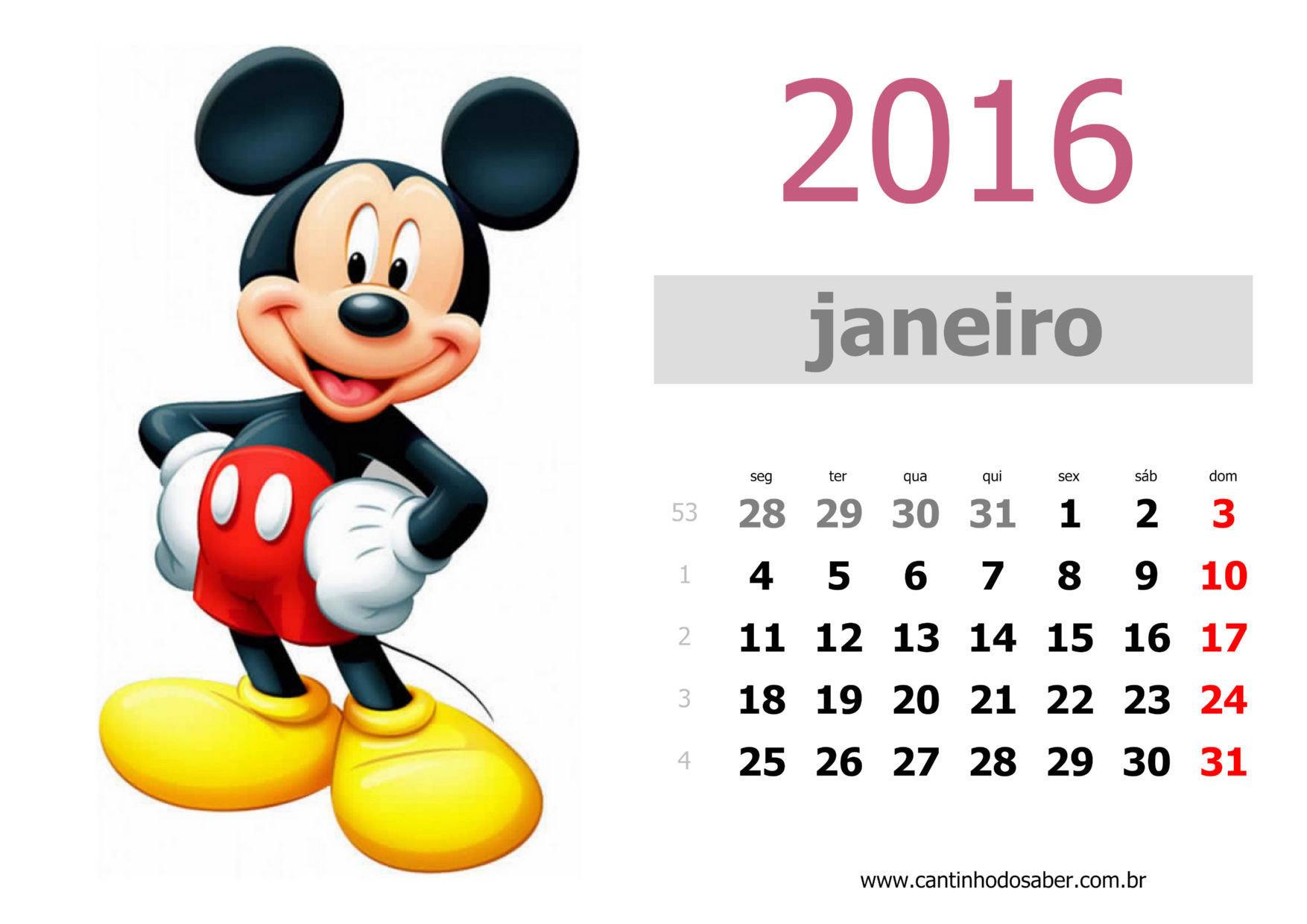calendario 2016 mês de janeiro