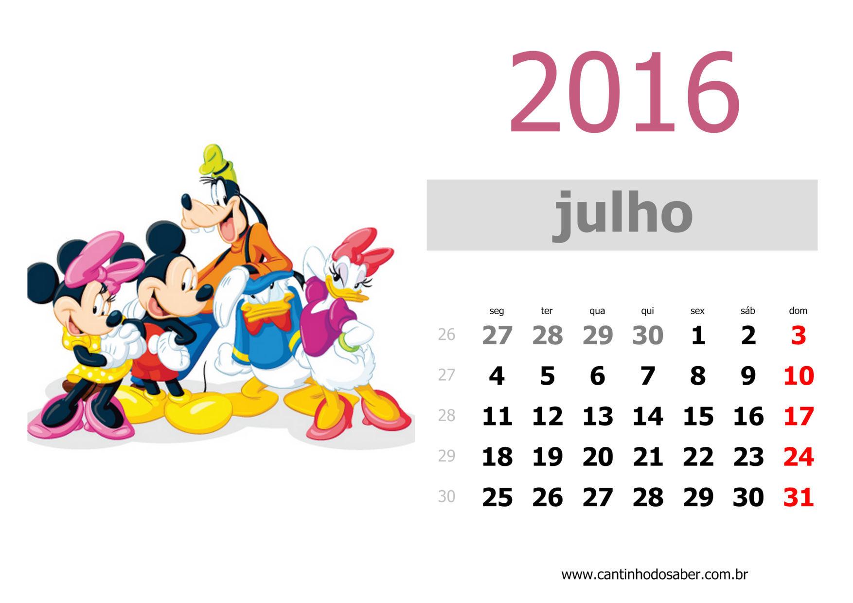 calendario 2016 mês de julho
