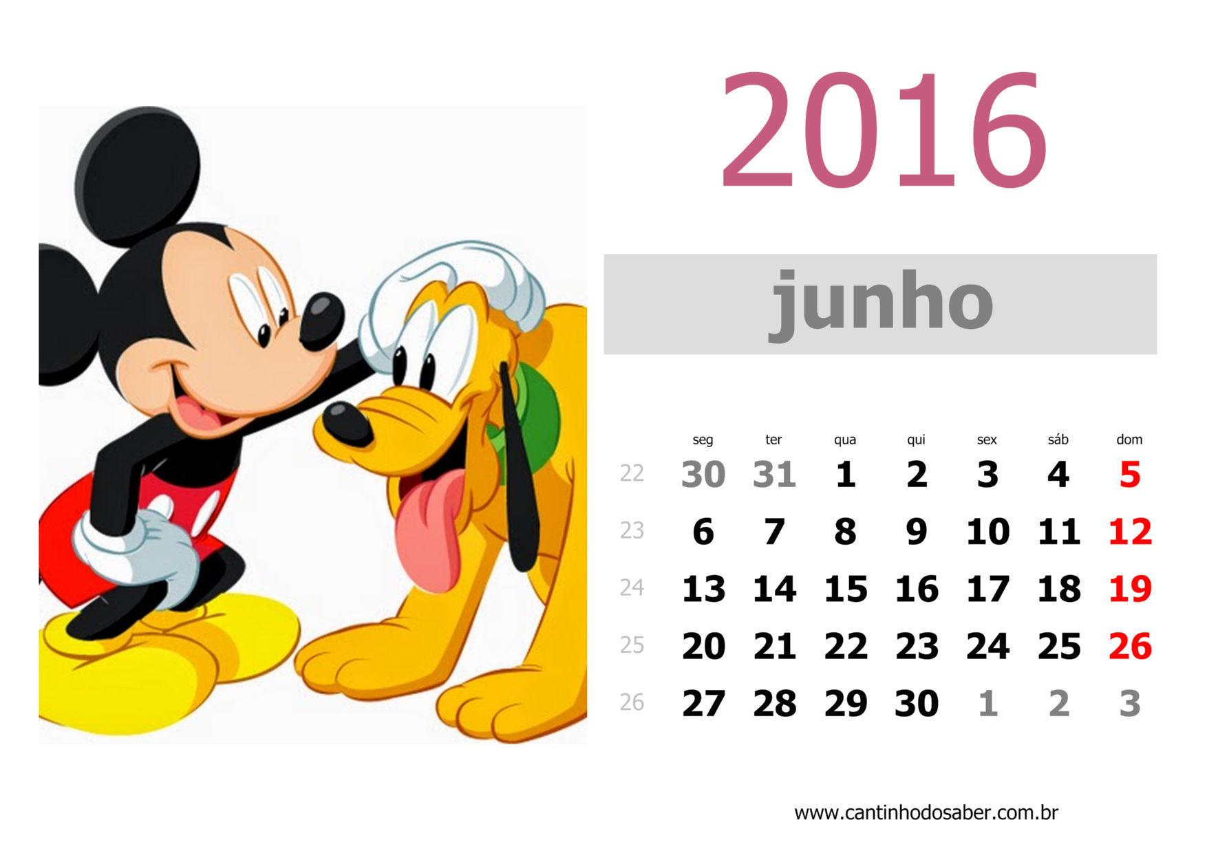 calendario 2016 mês de junho