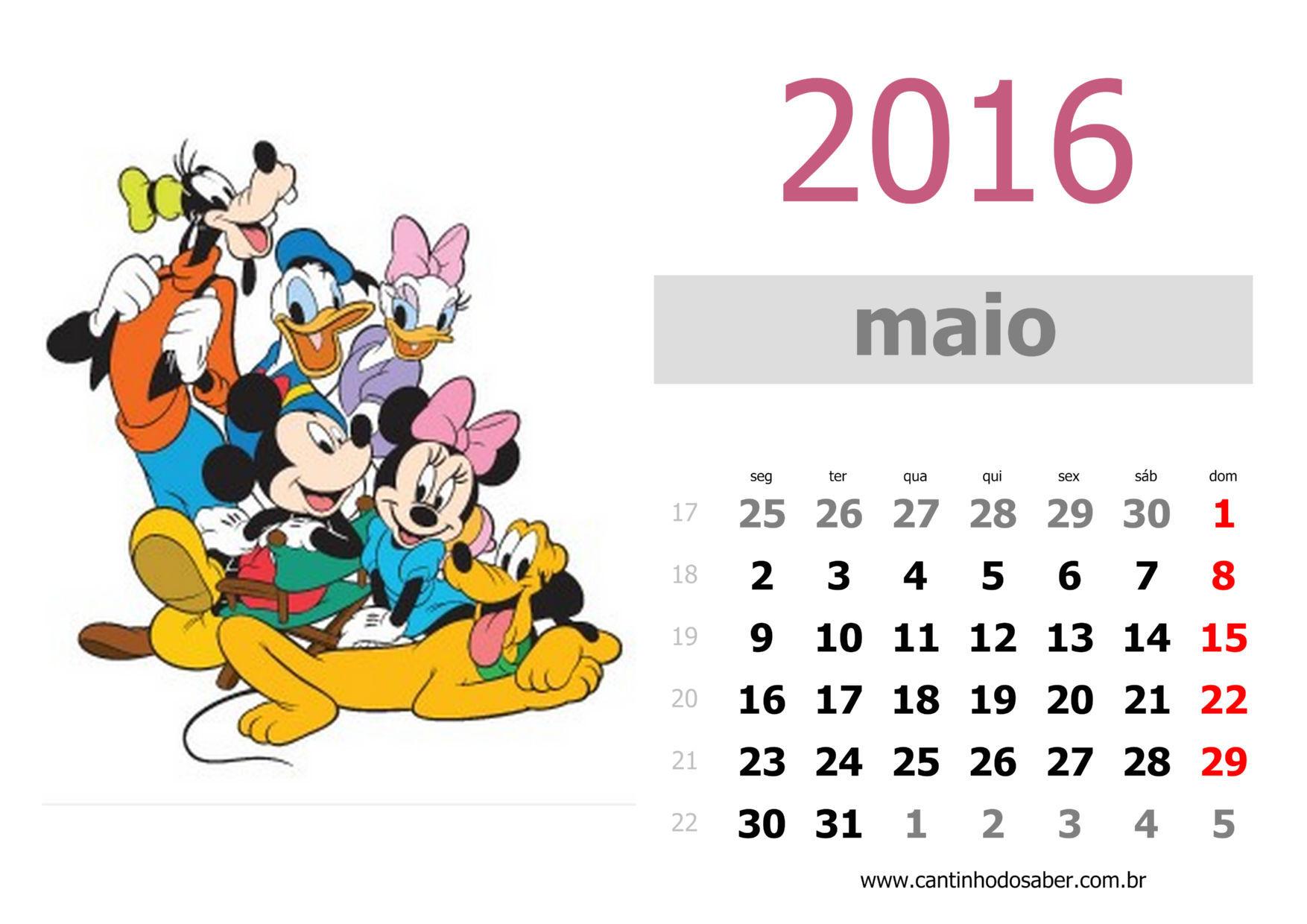 calendario 2016 mês de maio