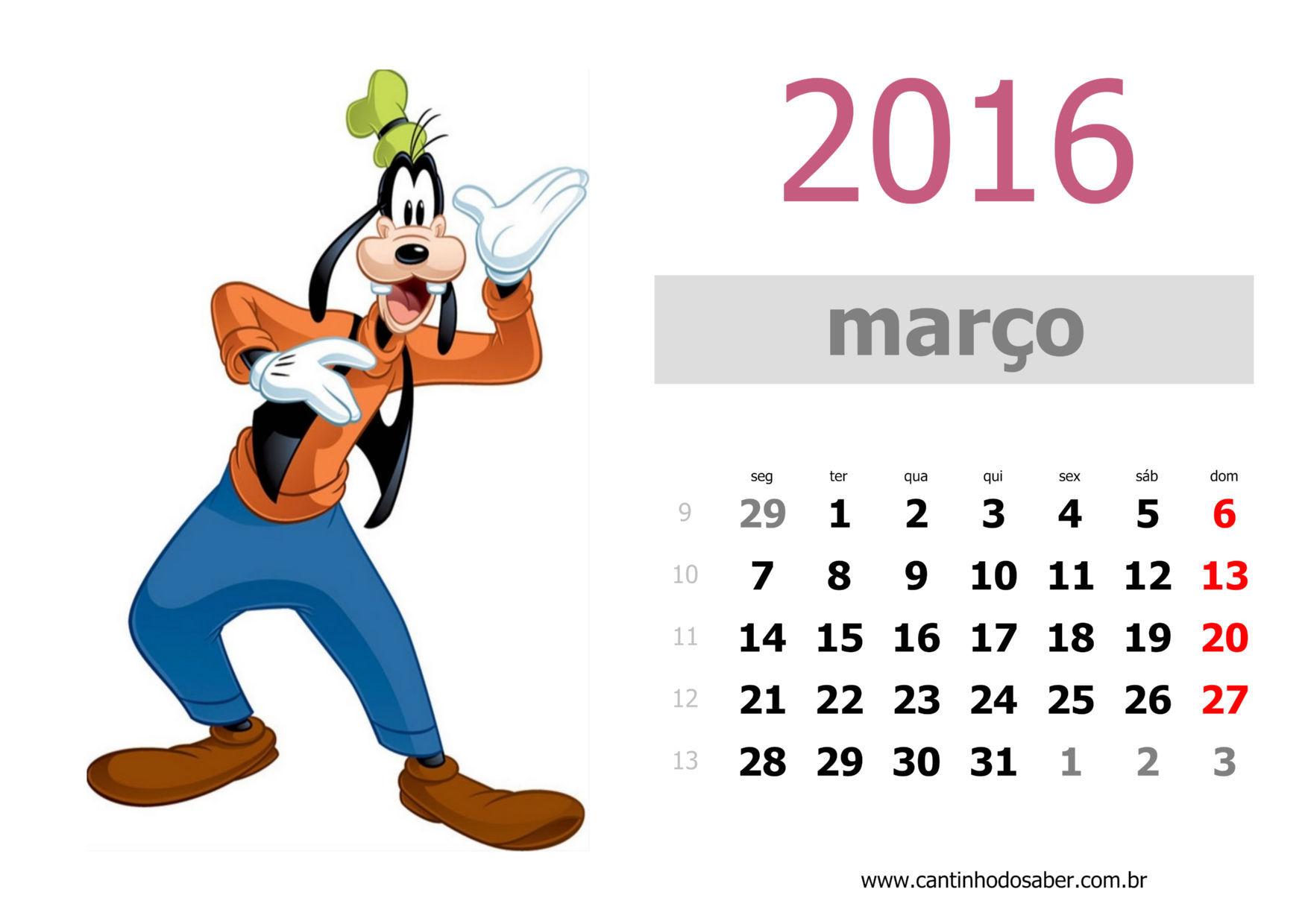 calendario 2016 mês de março