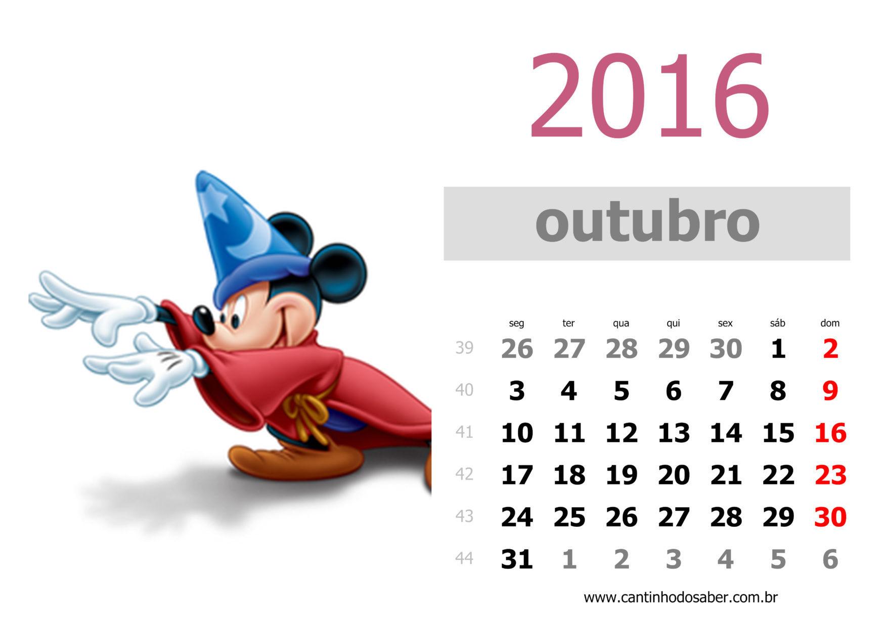 calendario 2016 mês de outubro