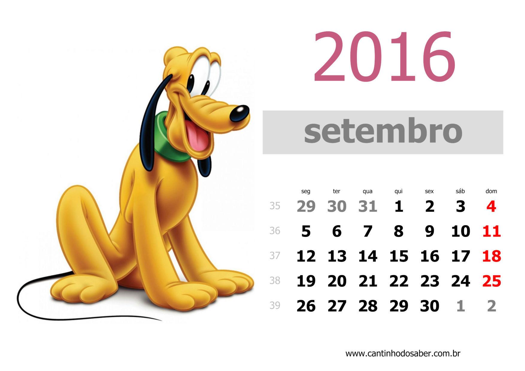 calendario 2016 mês de setembro