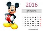 Calendário 2016 da Turma do Mickey para imprimir