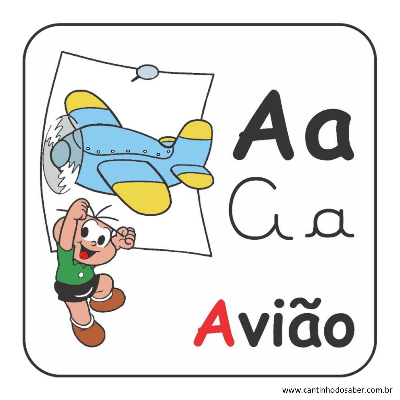 Alfabeto da turma da mônica em letra bastão e cursiva letra a