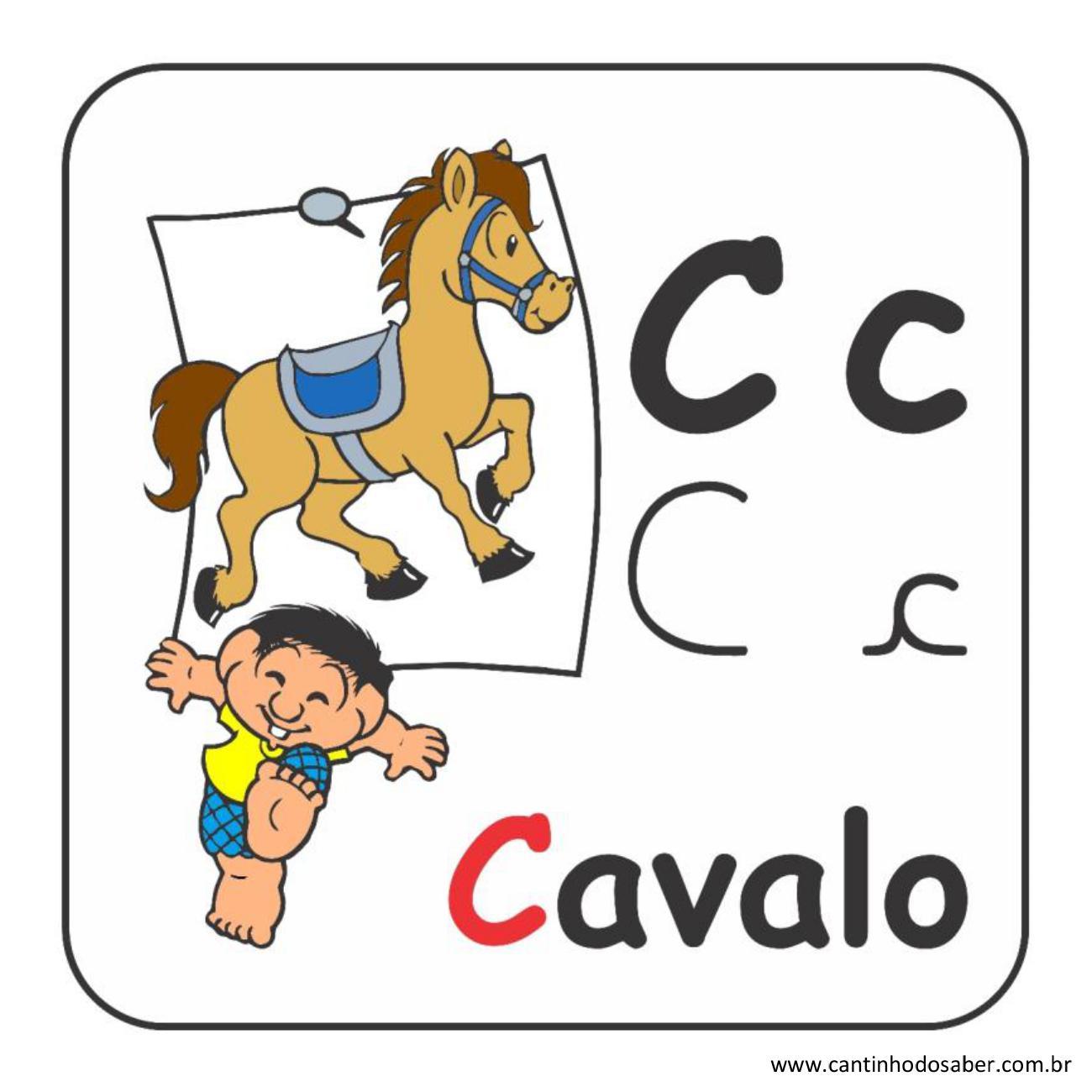 Alfabeto da turma da mônica em letra bastão e cursiva letra c