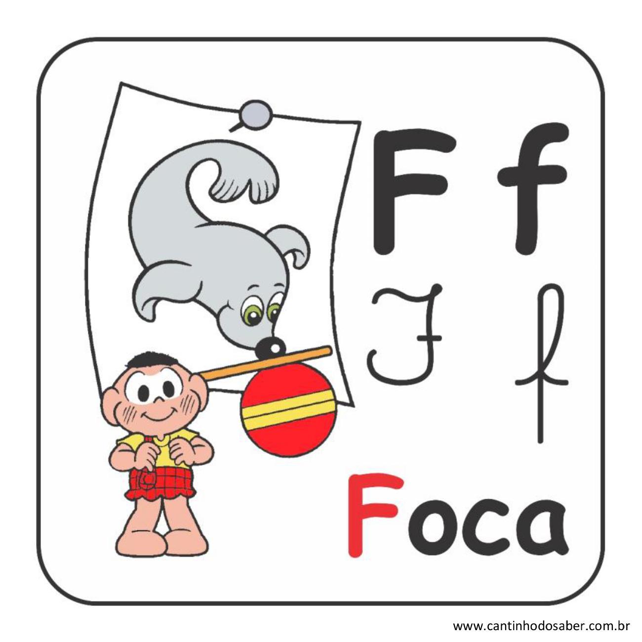 Alfabeto da turma da mônica em letra bastão e cursiva letra f