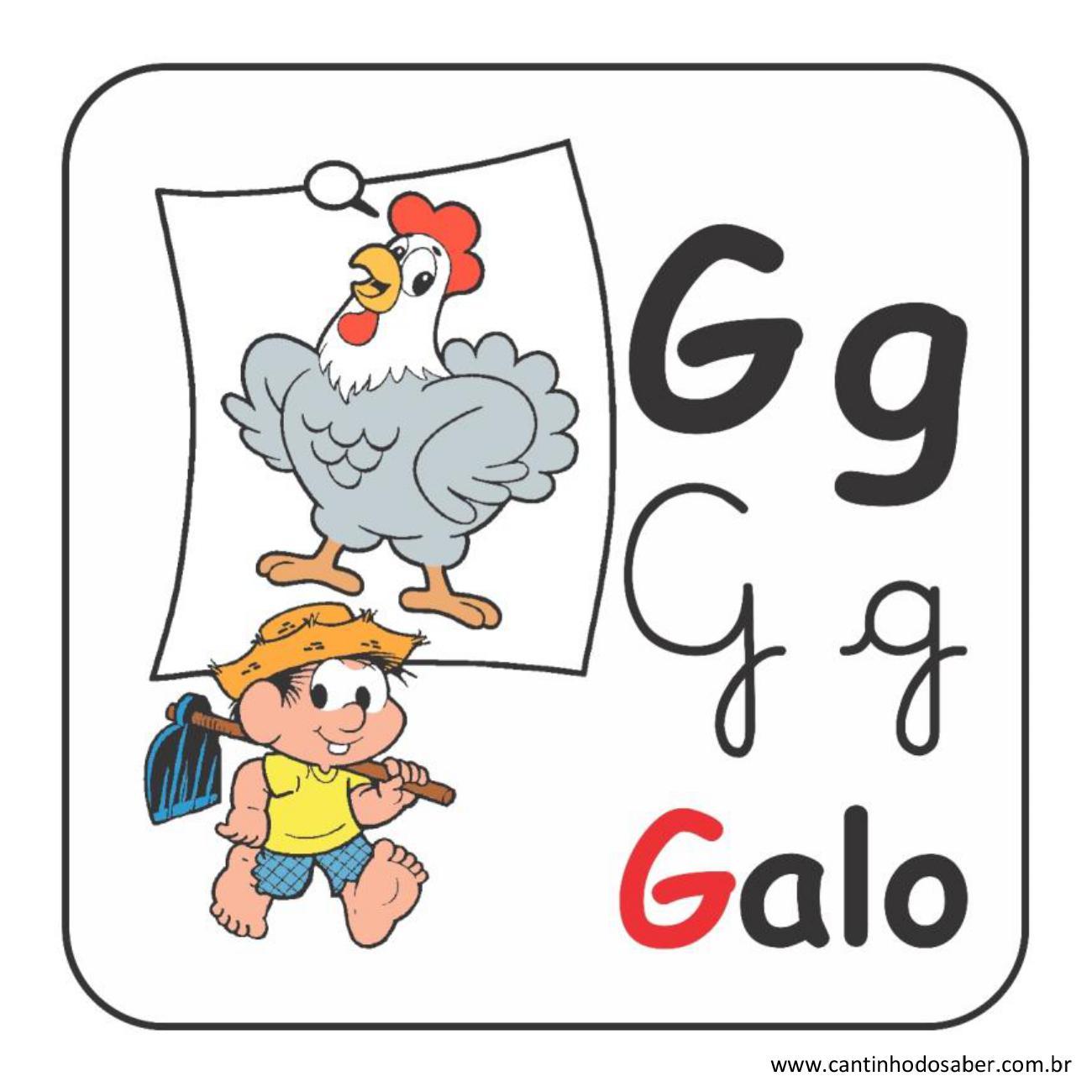 Alfabeto da turma da mônica em letra bastão e cursiva letra g