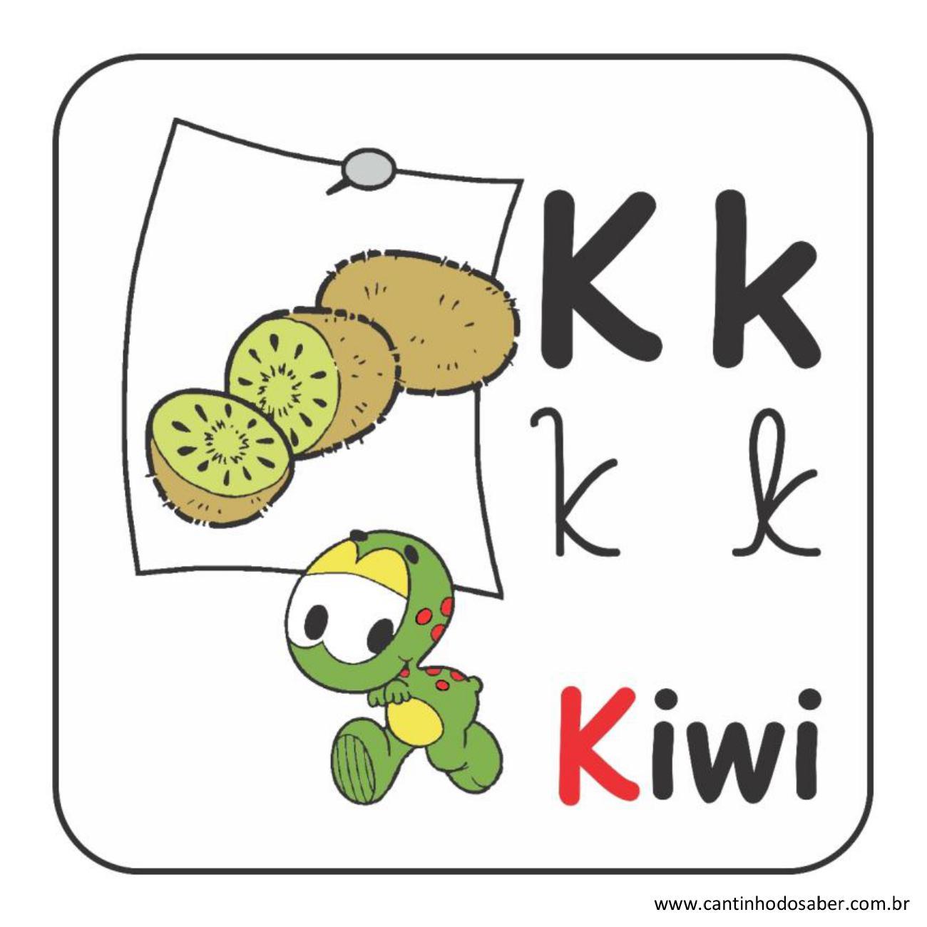 Alfabeto da turma da mônica em letra bastão e cursiva letra k
