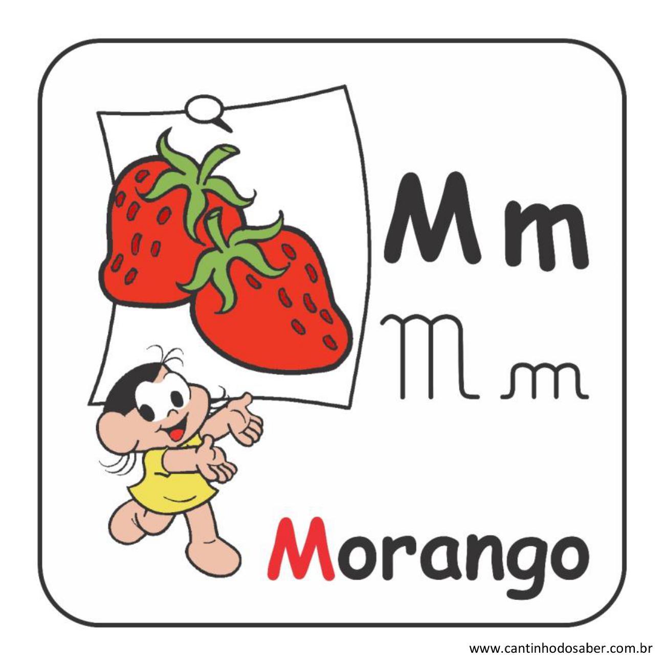 Alfabeto da turma da mônica em letra bastão e cursiva letra m