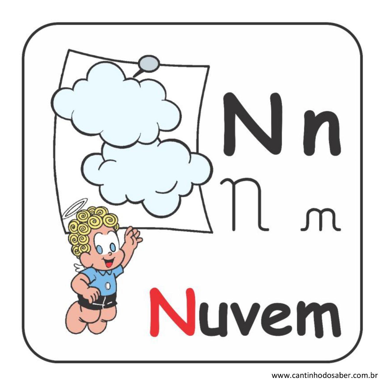 Alfabeto da turma da mônica em letra bastão e cursiva letra n