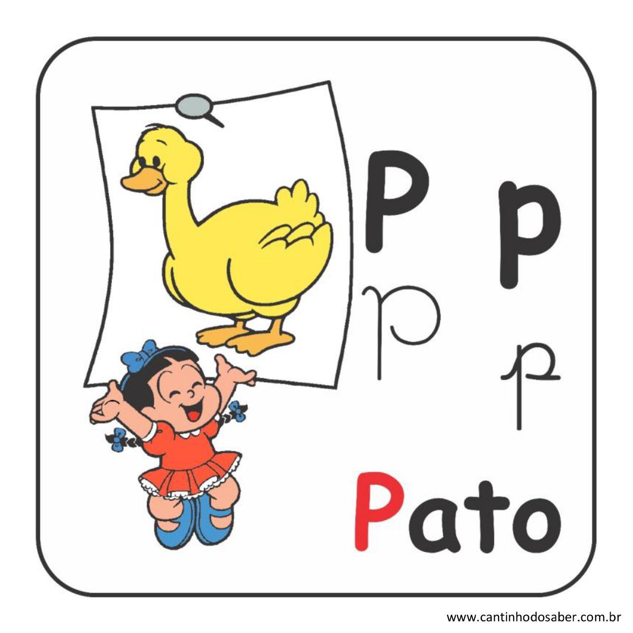 Alfabeto da turma da mônica em letra bastão e cursiva letra p