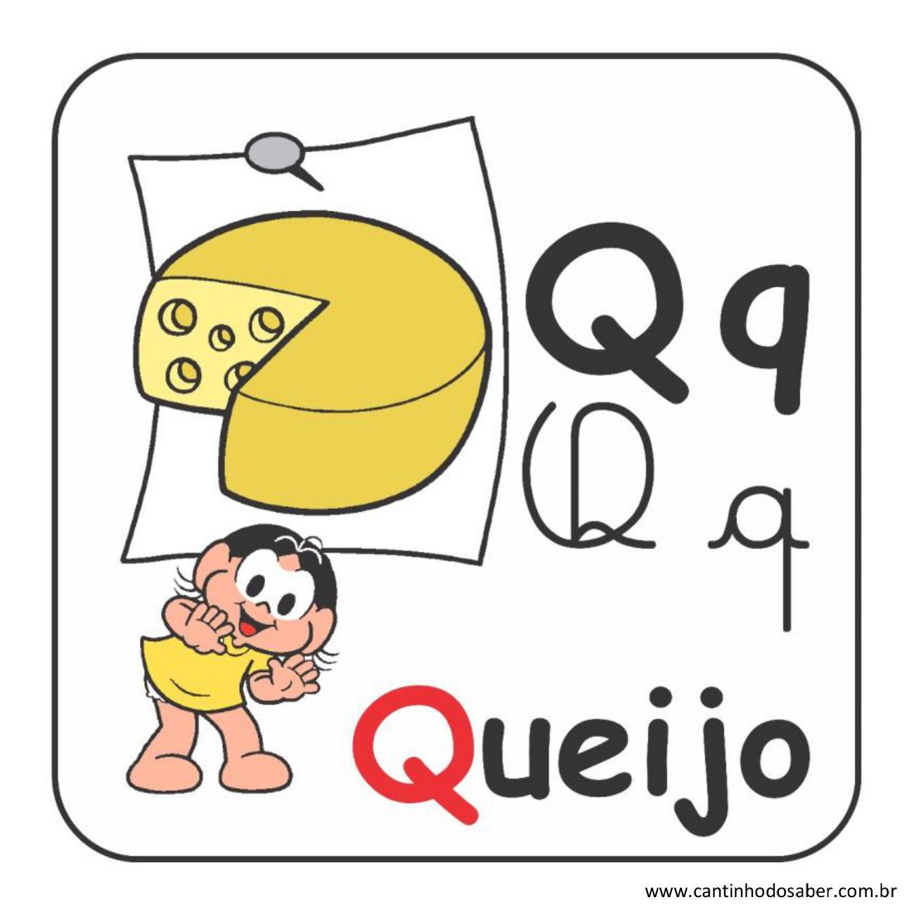 Alfabeto da turma da mônica em letra bastão e cursiva letra q
