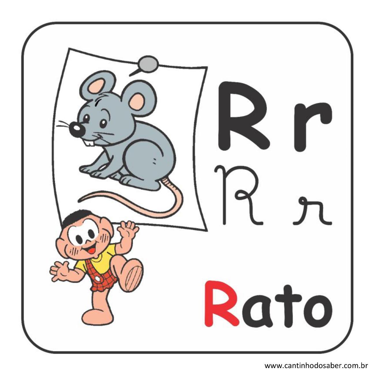 Alfabeto da turma da mônica em letra bastão e cursiva letra r