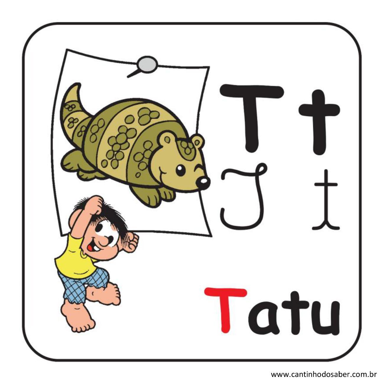 Alfabeto da turma da mônica em letra bastão e cursiva letra t