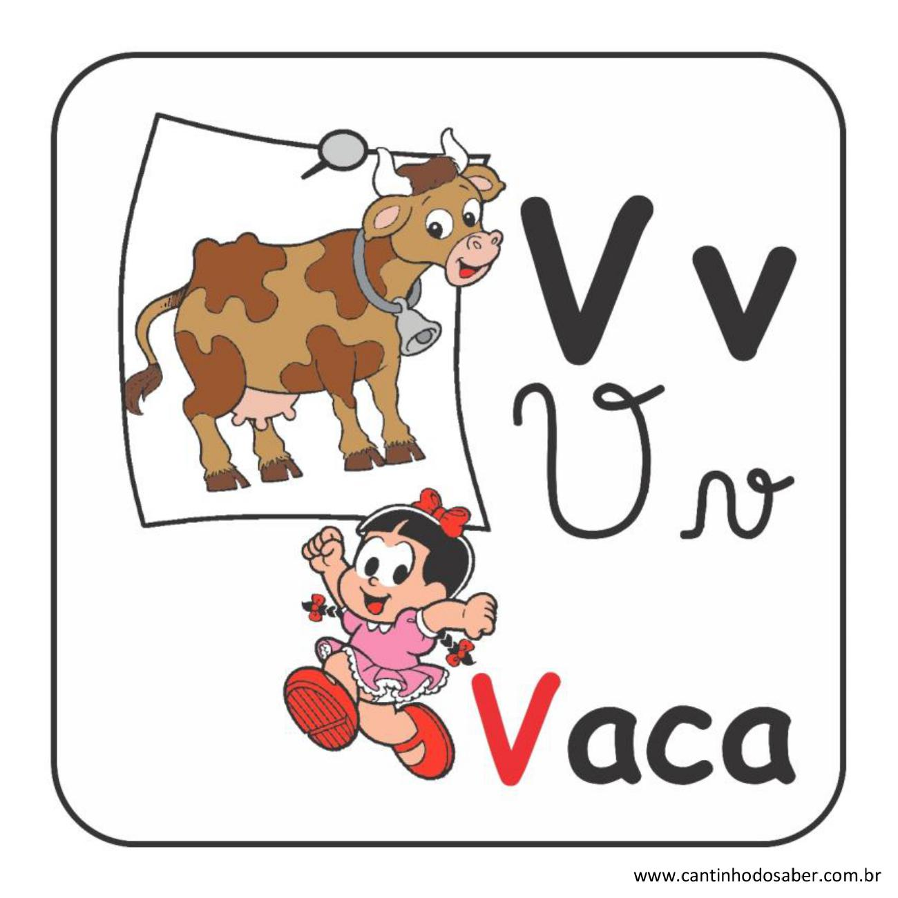 Alfabeto da turma da mônica em letra bastão e cursiva letra v