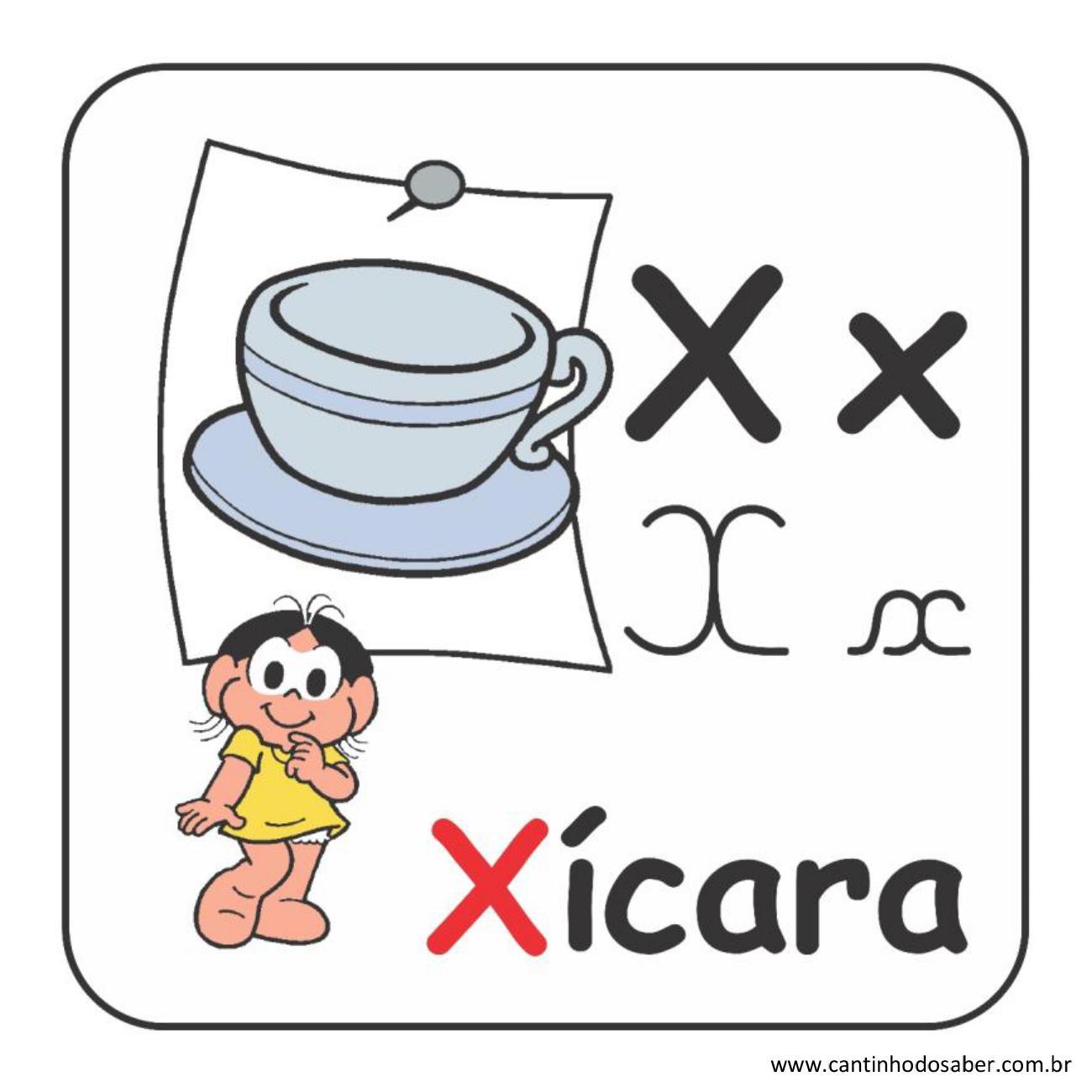 Alfabeto da turma da mônica em letra bastão e cursiva letra x