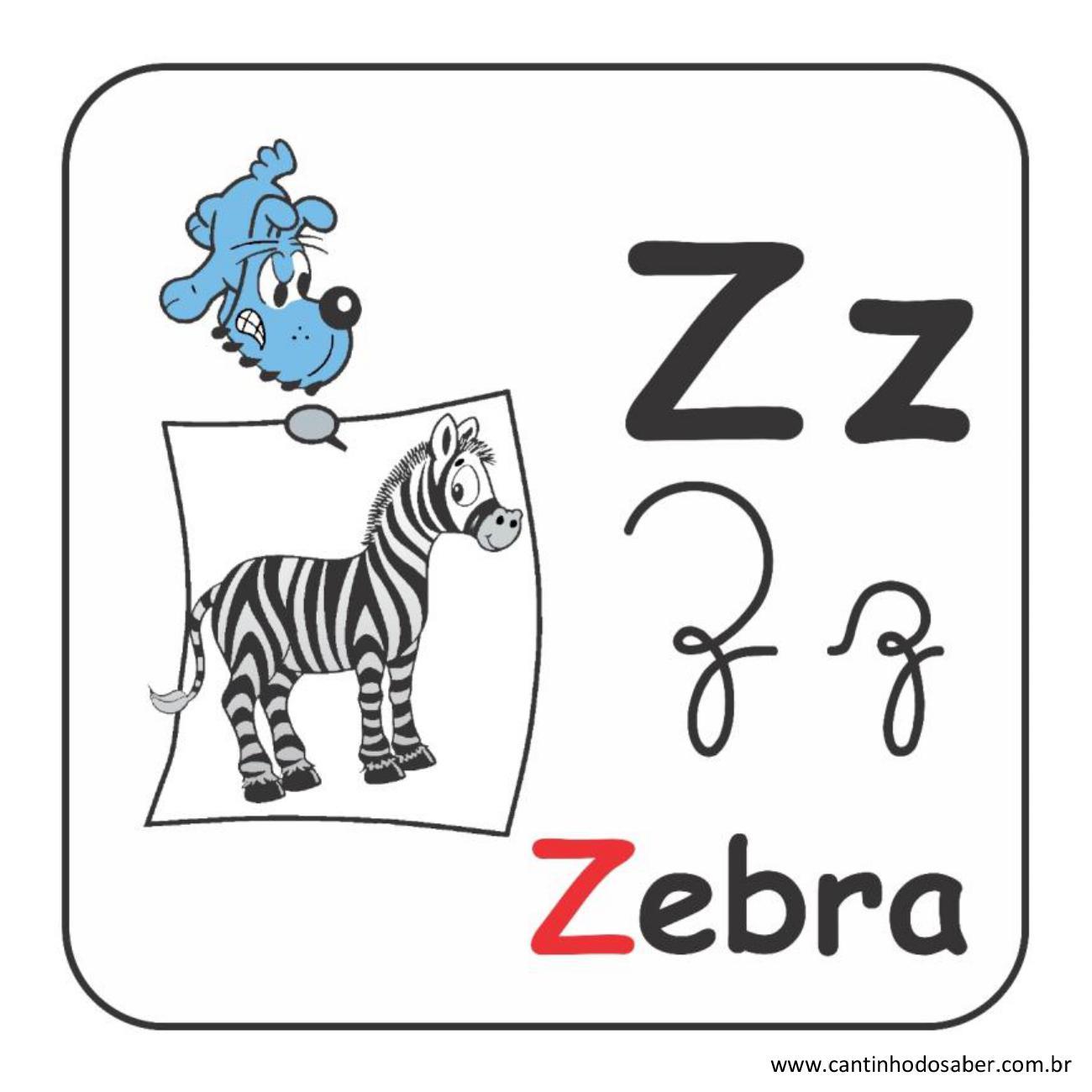 Alfabeto da turma da mônica em letra bastão e cursiva letra z