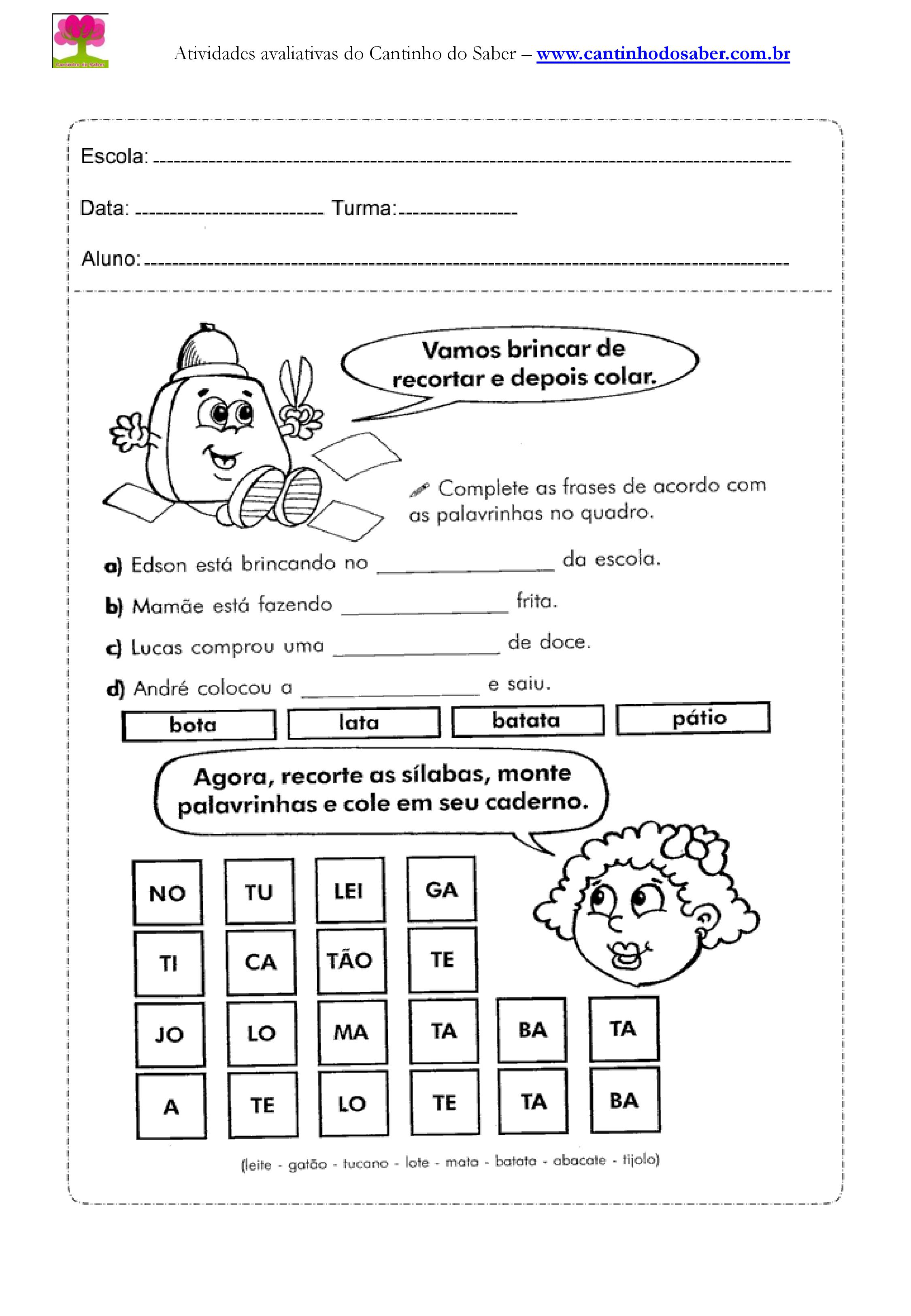 Extremamente Atividades de português para o segundo ano KN49