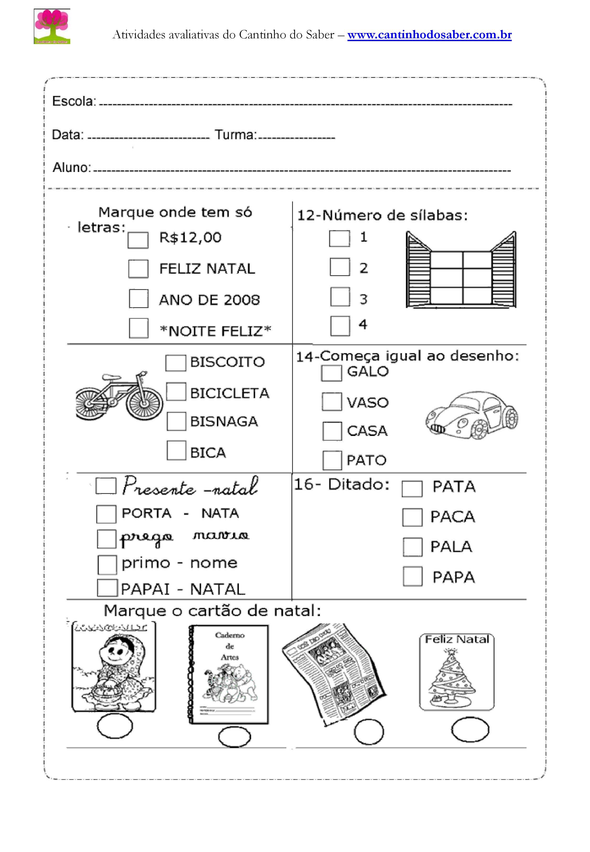 Atividade de Português para o segundo ano
