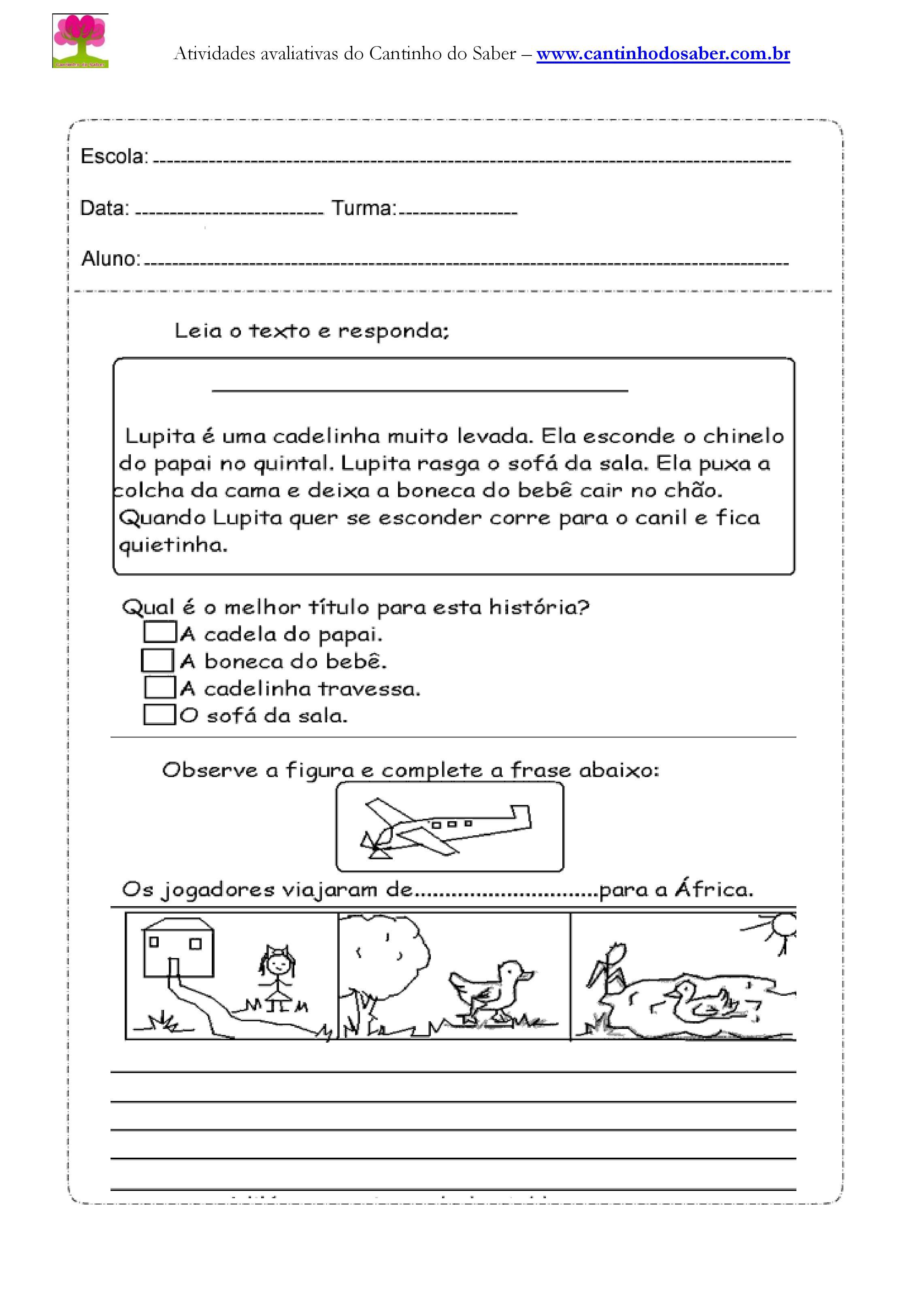 Atividade de portugues para o terceiro ano