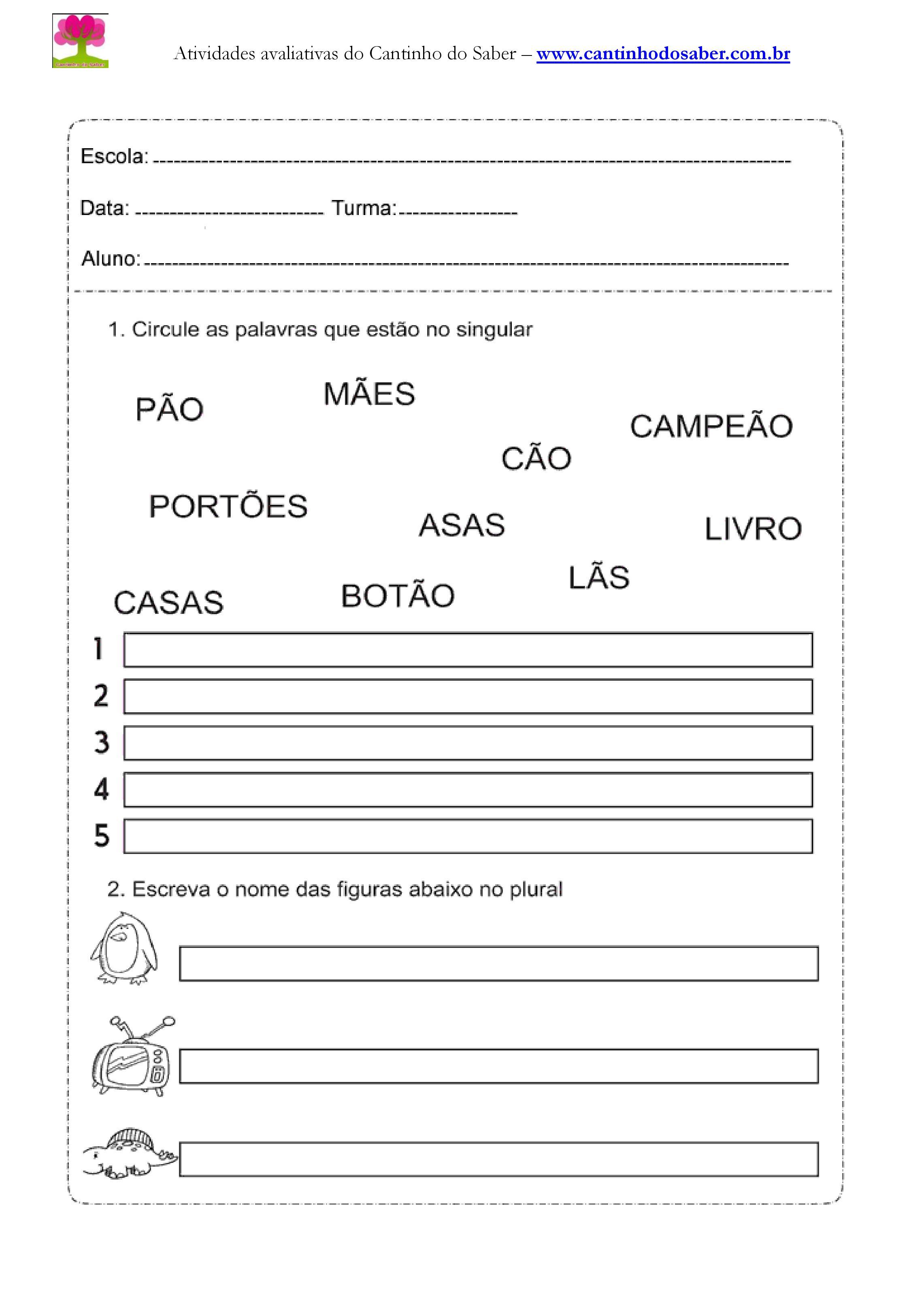Atividades de português para o primeiro ano