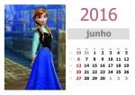 Calendário Frozen 2016 para imprimir