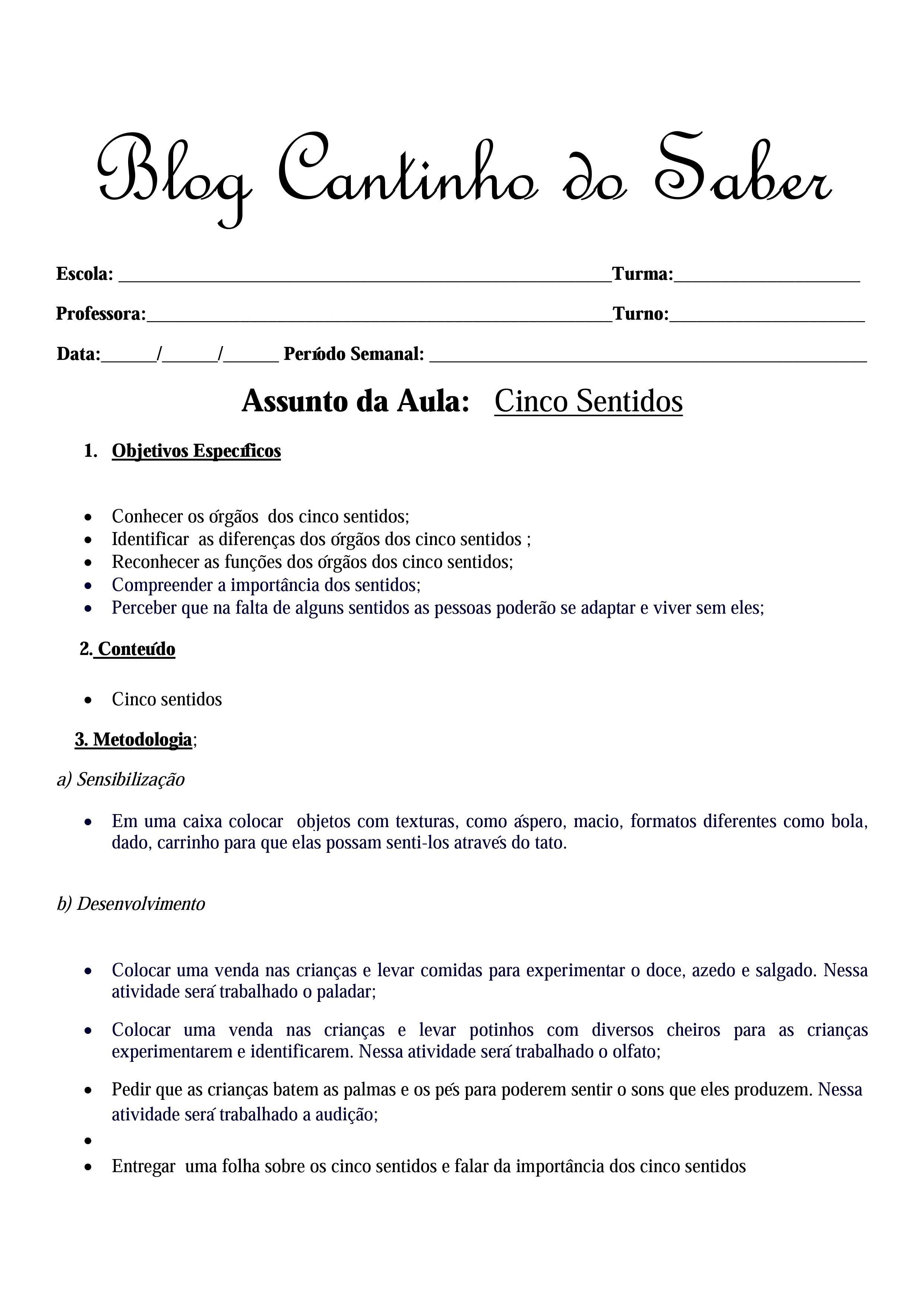 Plano de aula sobre os cinco sentidos para o 1º ano