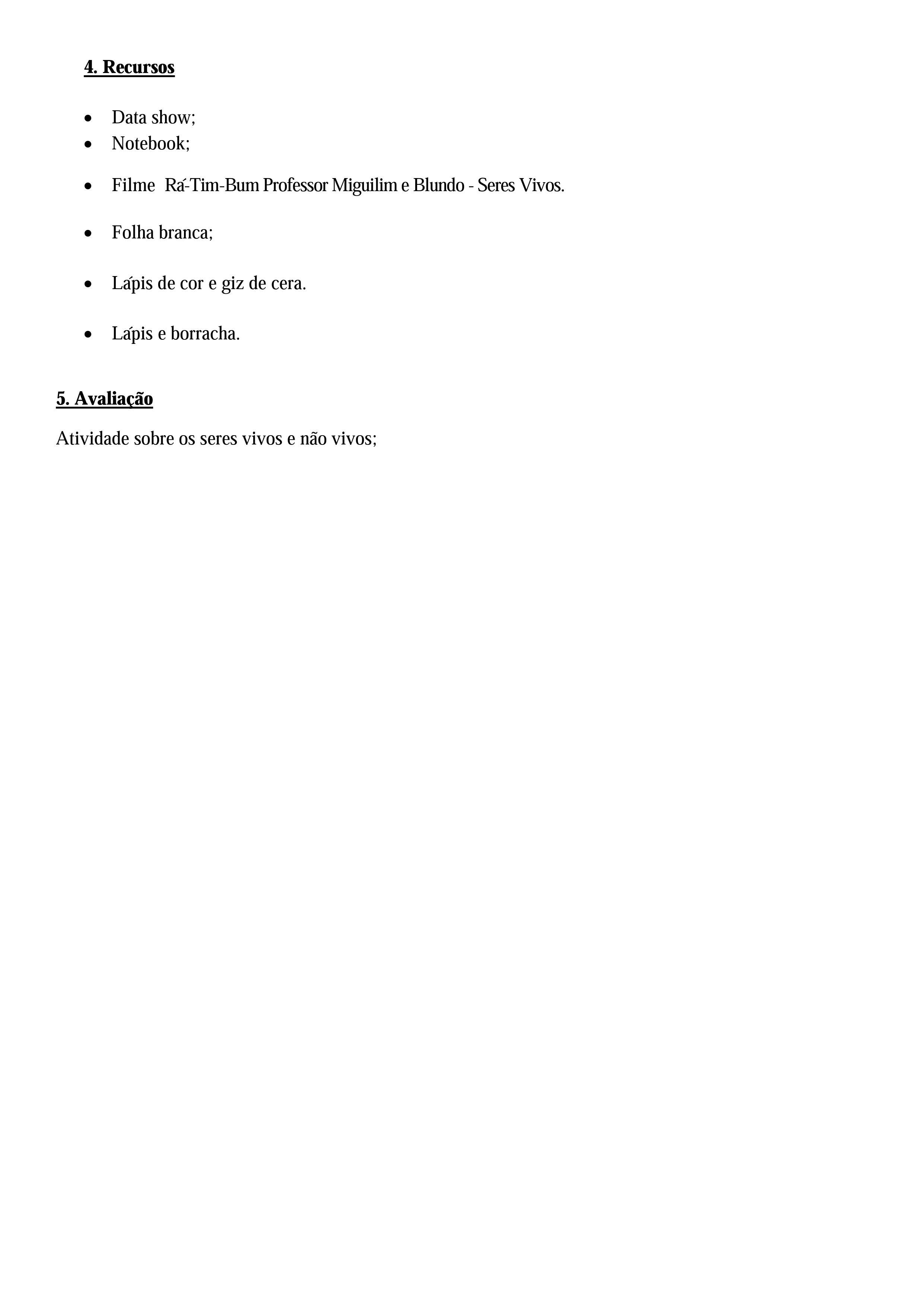 Plano de aula sobre os seres vivos e não vivos para o 1º ano pg2