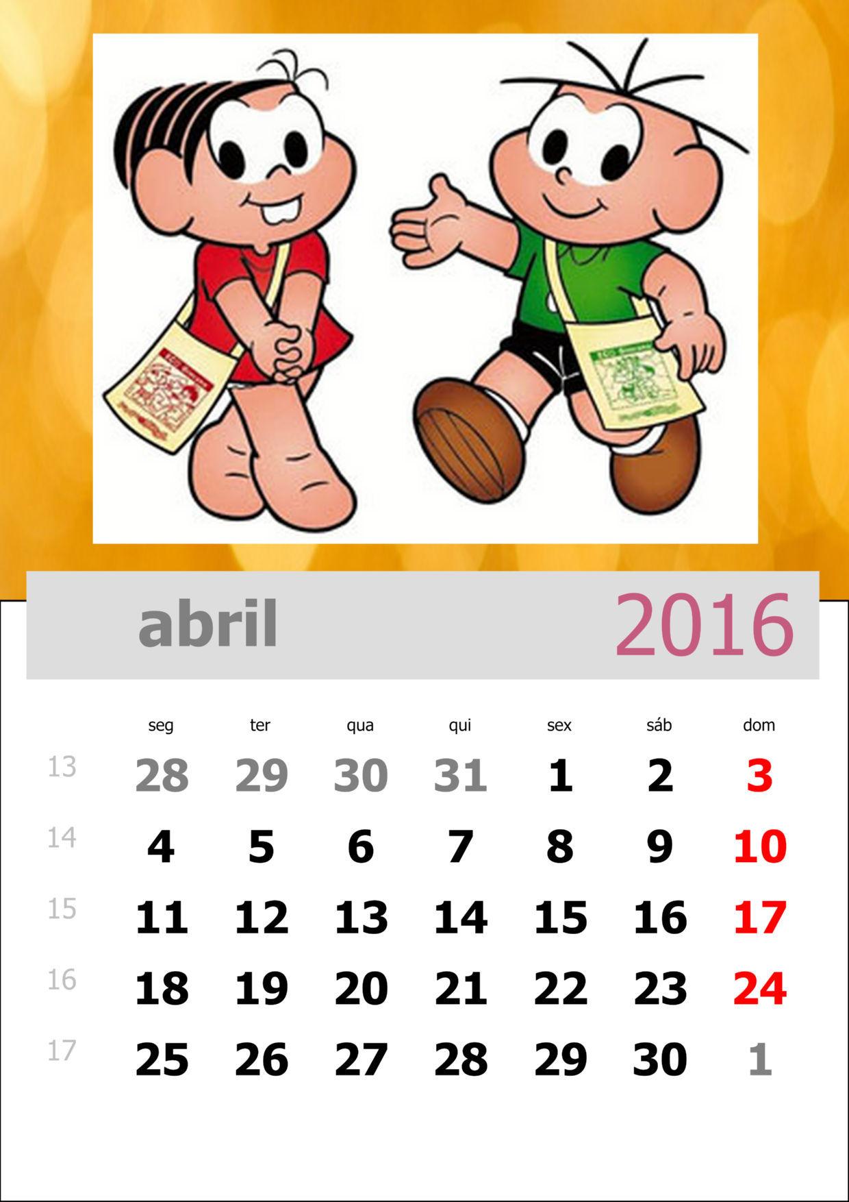 Calendário da Turma da Mônica 2016 - Mês de abril