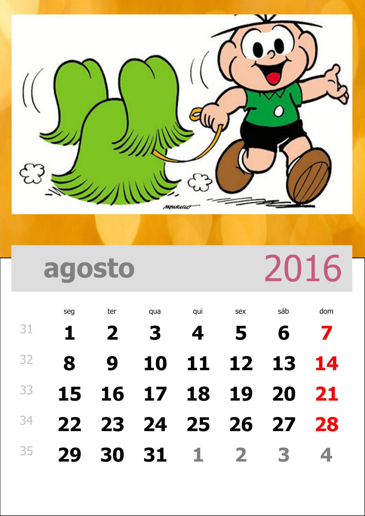 Calendário da Turma da Mônica 2016 - Mês de agosto