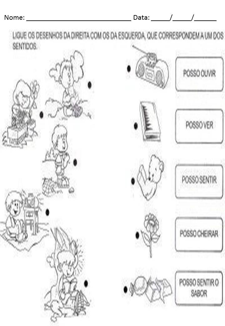 Atividade para os cinco sentidos para o 1º ano