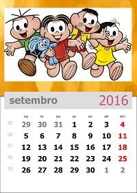 Calendário da turma da mônica 2016