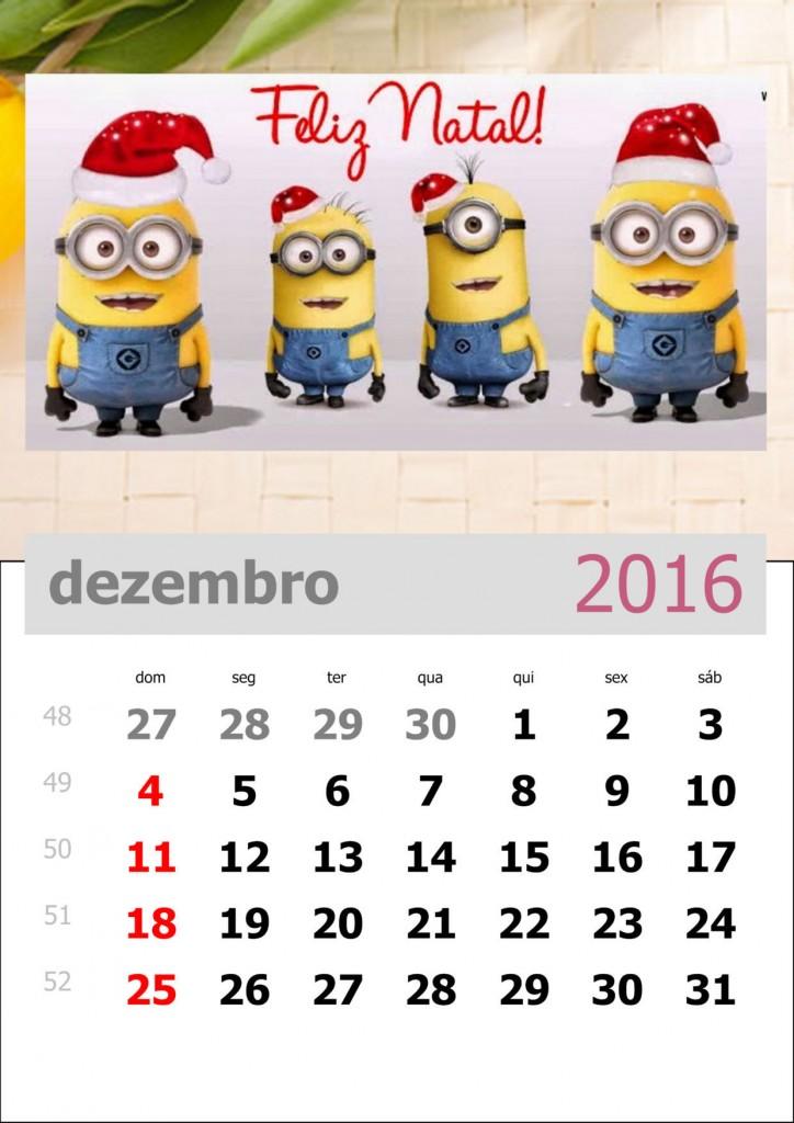 calendário dos minions mês de dezembro de 2016