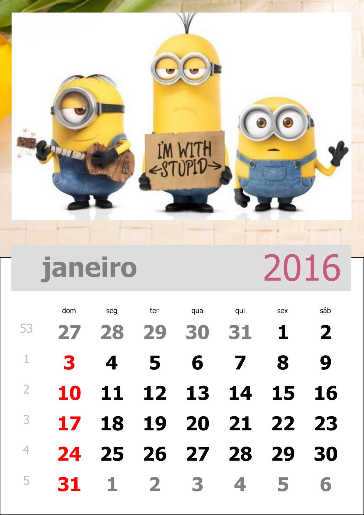 calendário dos minions mês de janeiro de 2016
