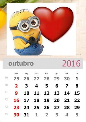 Baixar o calendário mensal dos minions de 2016