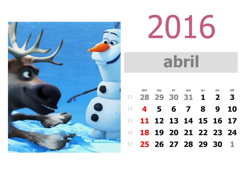 Calendário frozen 2016 para imprimir - abril
