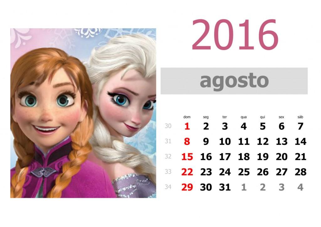 Calendário frozen 2016 para imprimir - agosto