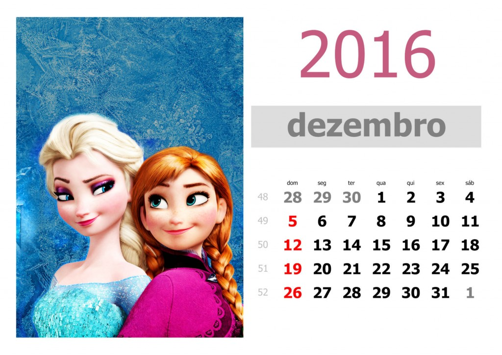 Calendário frozen 2016 para imprimir - dezembro