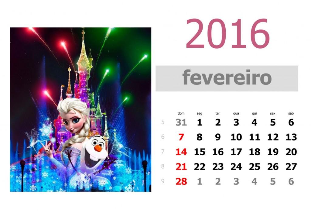 Calendário frozen 2016 para imprimir - fevereiro