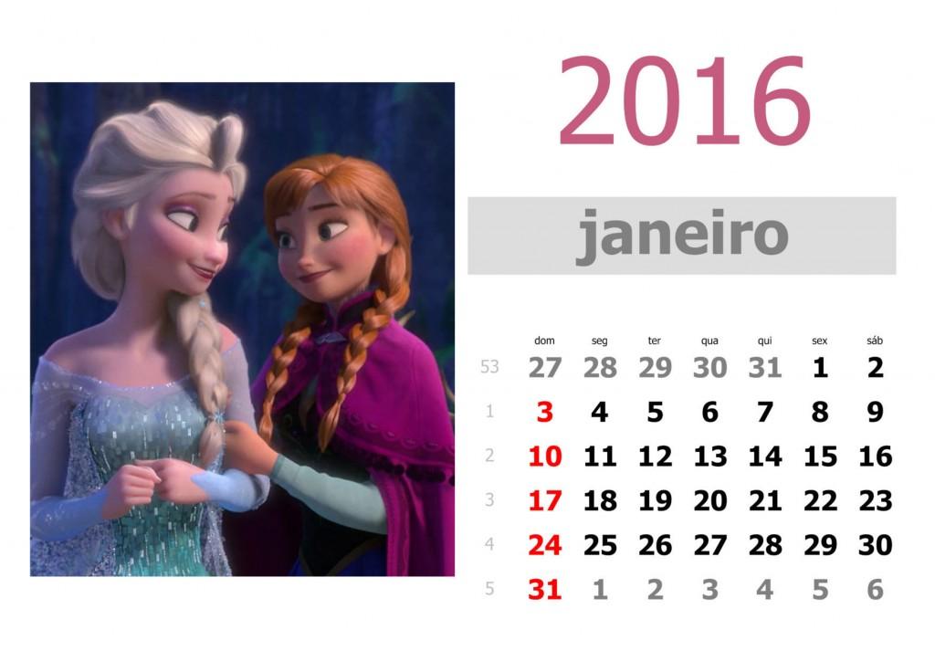 Calendário frozen 2016 para imprimir - janeiro